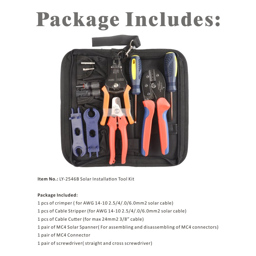 IWISS MC4 Crimping Tool Kit with Wire Cable Cutter, Stripper, MC4 Spanner and MC4 Connectors Solar PV Panel Tool Kit by IWISS (Image #2)