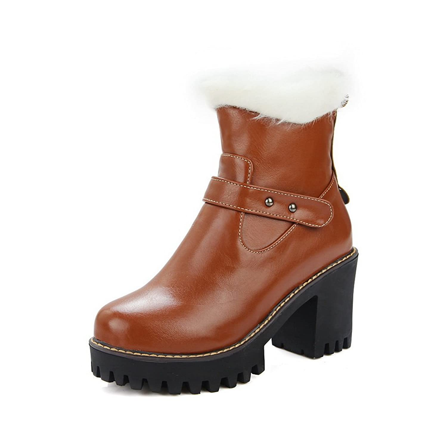 1TO9 Girls Wheeled Heel Shoes Zipper Platform Imitated Leather Boots