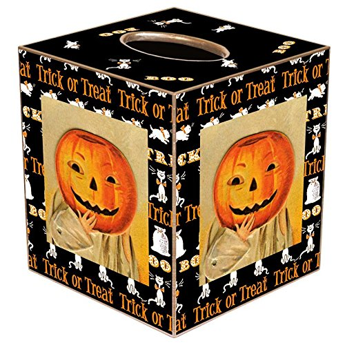 Jacko-Lantern with Trick or Treat Border Paper Mache Tissue Box Cover • Halloween Decorations -