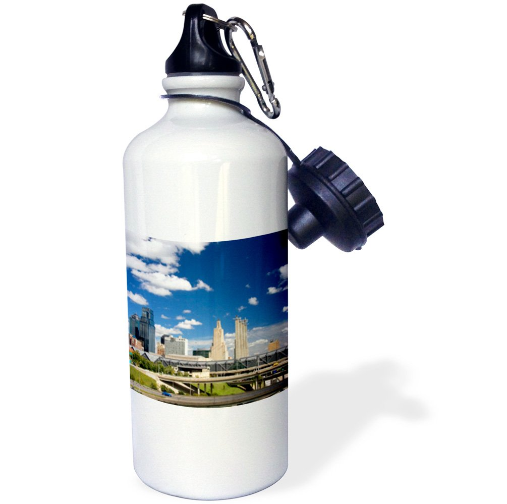 Mo US26 DFR0128 David R Frazier Sports Water Bottle 3dRose wb/_91526/_1 Cityscape White 21 oz I-35 Interchange of Kansas City