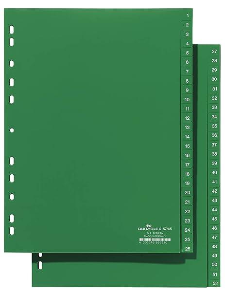 Durable 615705 - Separadores para archivadores (plástico, tamaño A4, troquelado universal, pestañas