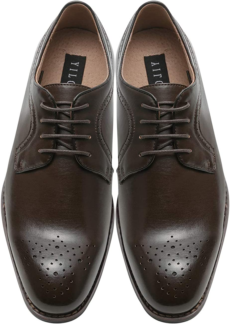 YILOTE Mens Brogue Leather Oxfords Dress Shoes Lace-up Business Shoes