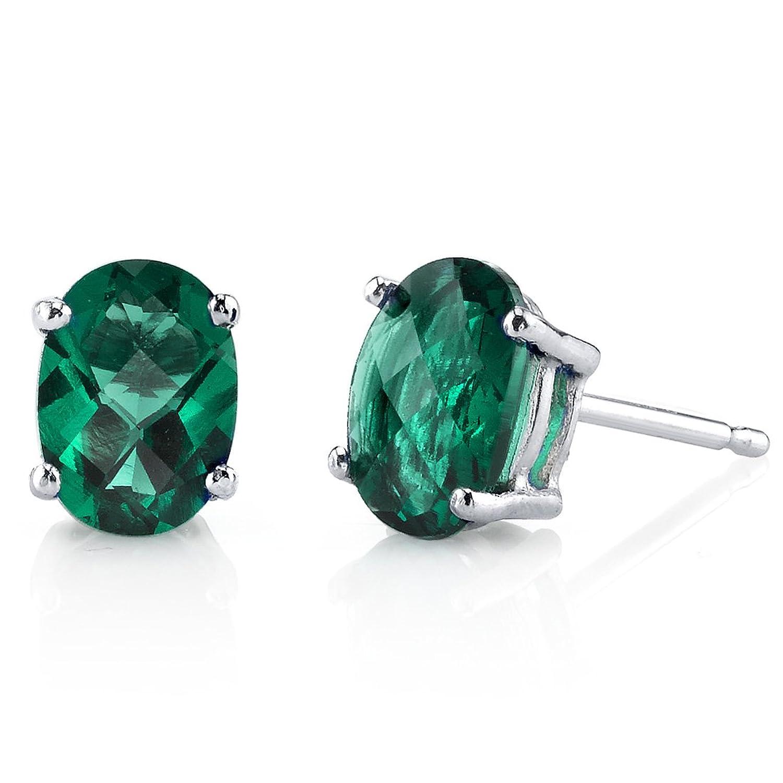14 Karat White Gold Oval Shape 1.50 Carats Created Emerald Stud Earrings