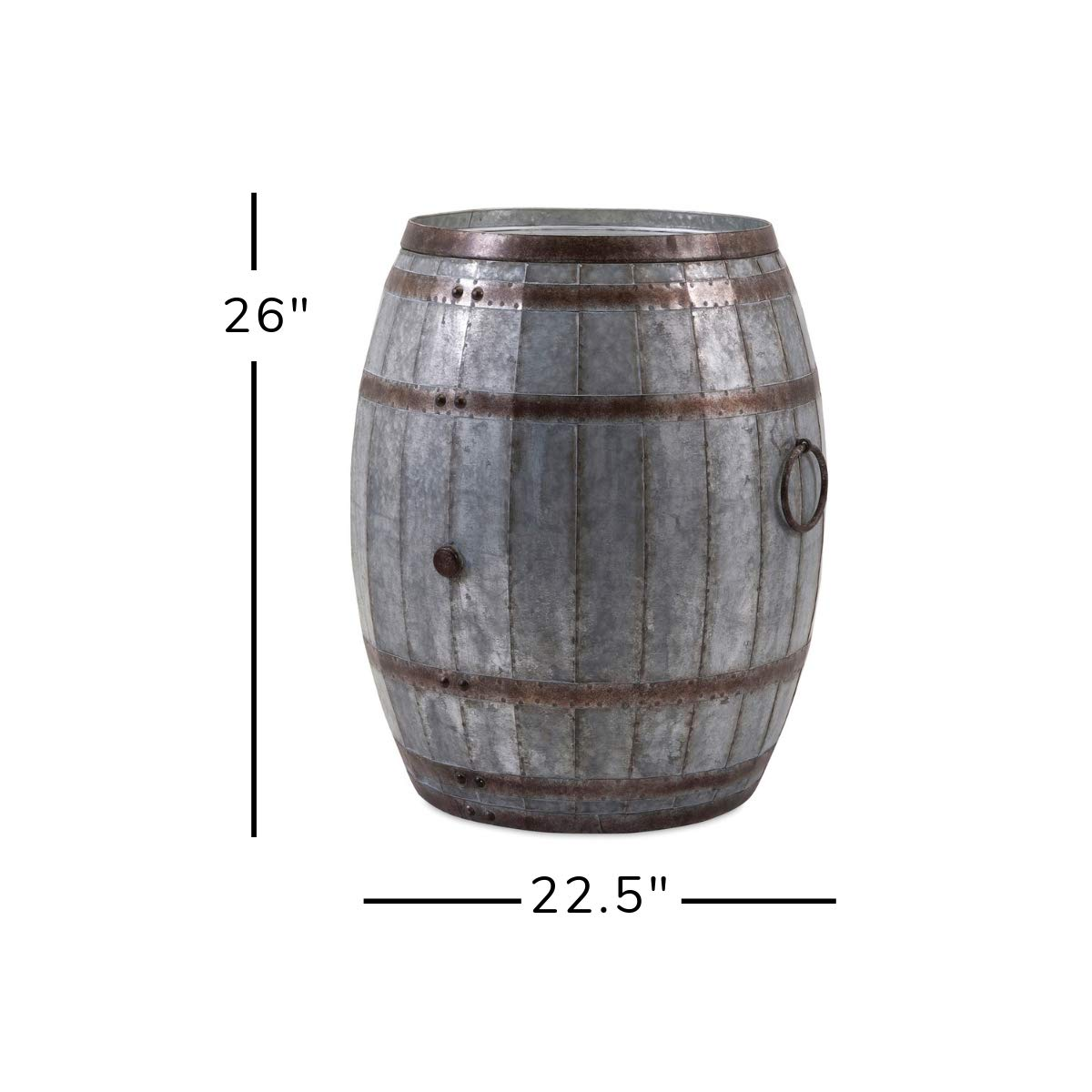 IMAX 88707 Vineyard Wine Barrel Storage Table – Vintage Inspired Iron Barrel, Rustic Metal Accent Table, Home Bar Furniture. Bar Cabinets