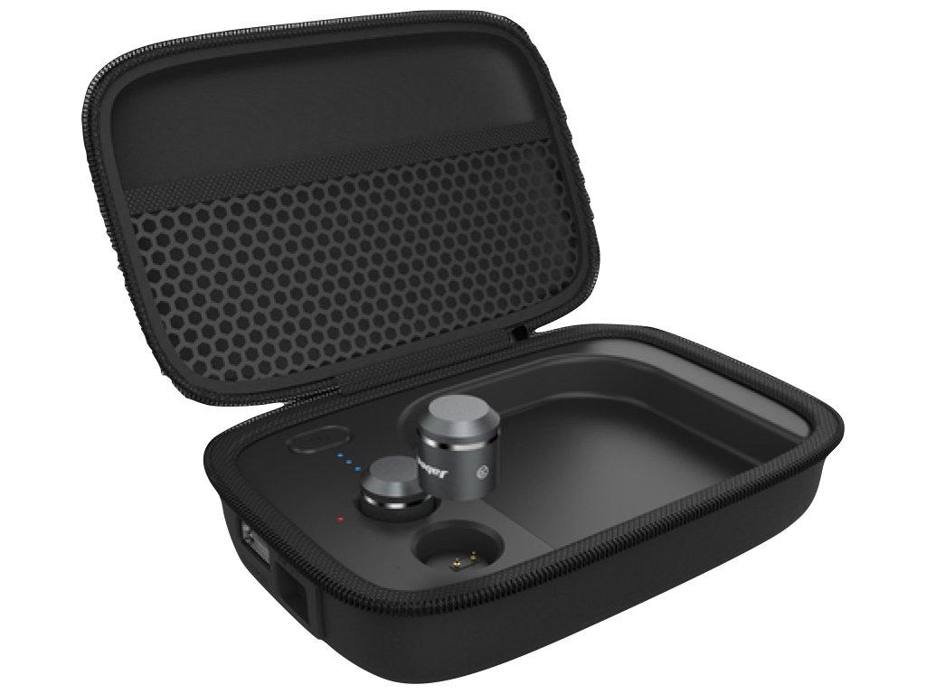 ジャビーズ 補聴器具 次世代型 集音器 ワイヤレスイヤホン 一体型 Bluetooth4.1 音楽視聴 通話 集音の3in1機能 アンプサウンド (レッド, スターターキット) B0768GCDXH シルバー パワーパック パワーパック|シルバー