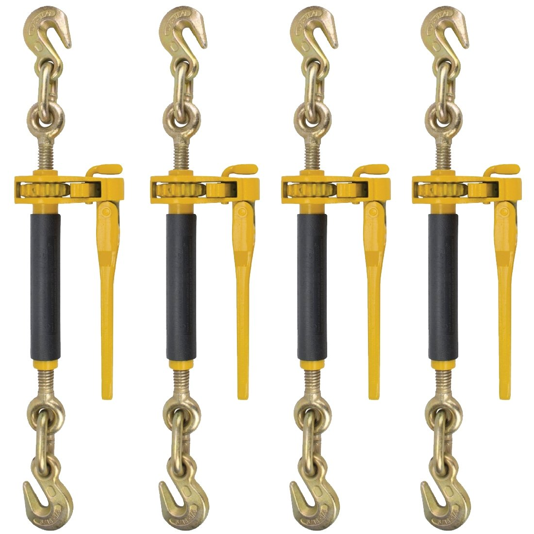 Peerless Ratchet Style Folding Handle Load Binder With 2 Grab Hooks - 7,100 lbs. Safe Working Load (For 5/16'' Grade 70, 3/8'' Grade 70 or 3/8'' Grade 80 Chain - Pack of 4)