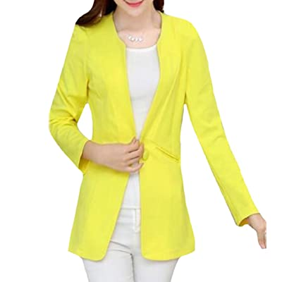 Abetteric Womens Slim Tailoring Sharp Shoulder OL Office Blazer Jacket