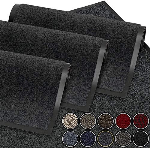 61%2BXelVlZkL GadHome Fußmatte Schwarz Anthrazit 39x58 cm |Eingangstürmatte wasserdicht waschbar strapazierfähiger Schmutzfänger…