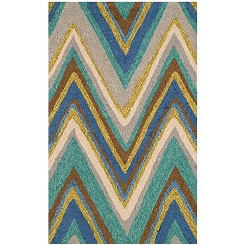 Safavieh Four Seasons Collection FRS389A Hand-Hooked Blue and Multi Indoor Outdoor Area Rug 4 x 6