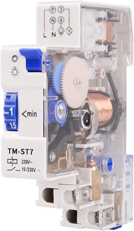 Gugutogo SINOTIMER TM-ST7 220 V 7 Minutes Minuterie M/écanique 18mm Module Unique Rail Din Escalier Minuterie Minuterie Instruments