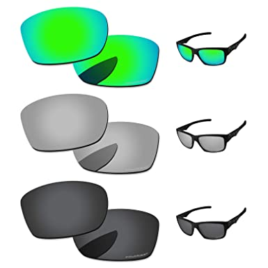 3b6cb18063 PapaViva Lenses Replacement for Oakley Jupiter Squared Black Grey   Chrome  Silver   Bluish Green