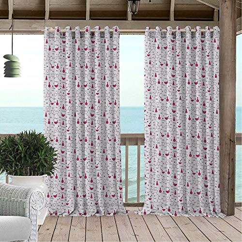 Linhomedecor Gazebo Waterproof Curtains Lab Medical School University Studies Chemical Compound Analysis Biology Themed Pattern Magenta White Porch Grommets Adjustable Curtain 84 by 96 inch