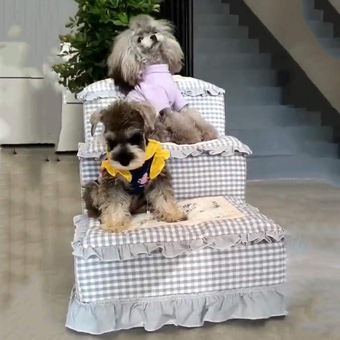 XUEYAN Cama alta, Mascota para perros y gatos Rampa para mascotas Escalera Toparchery Escaleras para perros de 3 escalones Escalera desmontable Cama de la ...
