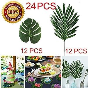 Longloving Artificial Palm Leaves Tropical Imitation Plant Leaves Safari Leaves Hawaiian Luau Party Theme Decorations,Tiki Decoration, Aloha Jungle Beach Birthday Table Decorations 39