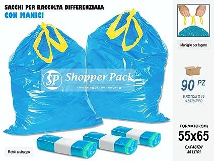 Shopperpack Bolsas de Basura con Asas cm 55 x 65 Nº 90 ...