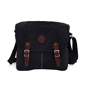 c7eff4208e Image Unavailable. Image not available for. Color  Women s Vintage Canvas  Satchel Messenger Laptop Shoulder Crossbody Sling Bag Black