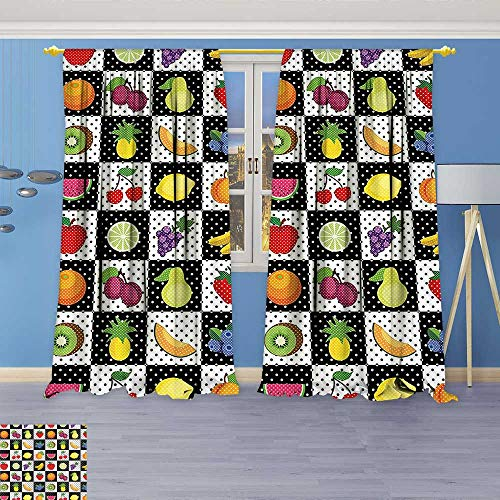 Philiphome Thermal Insulated Window Curtains White Decor Kitchen Fruits Vegetables Nature with Dots Chess Squares Art Design Multicolor Set of Two - Auto Chess Set