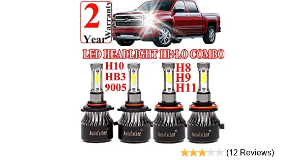 Amazon.com: 9005 H11 LED Headlight High Beam/Low Beam Combo Set For Chevy Silverado 1500/2500 HD/3500 HD (2008-2015), 4 Sides COB Chips 12000LM High Power ...