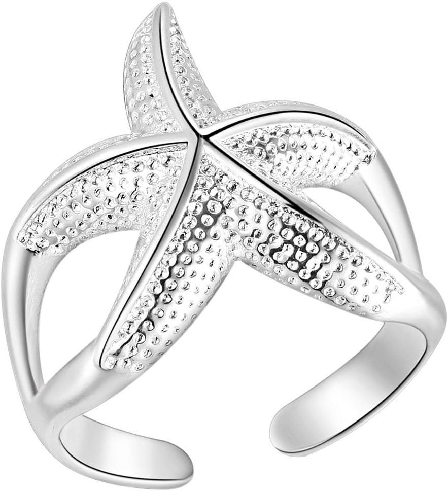 Wicemoon - Anillo de Apertura Ajustable con diseño de Estrella de mar y Cristales de imitación