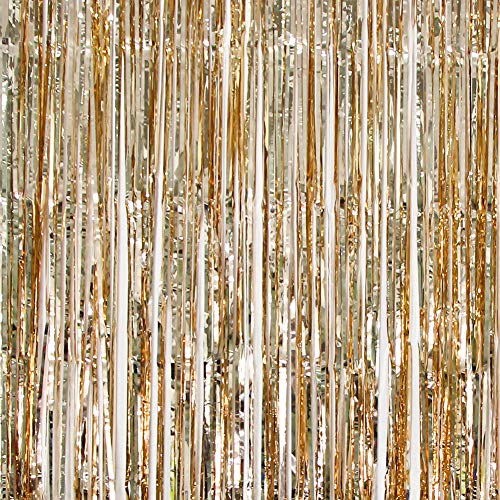 UTOPP 2 Pack Champagne Gold Foil Fringe Curtains Photo Backdrop, 3ft x 8 ft Shiny Metallic Tinsel Party Door Curtain Photo Booth Props Birthday Wedding Bridal Baby Shower Party Decorations