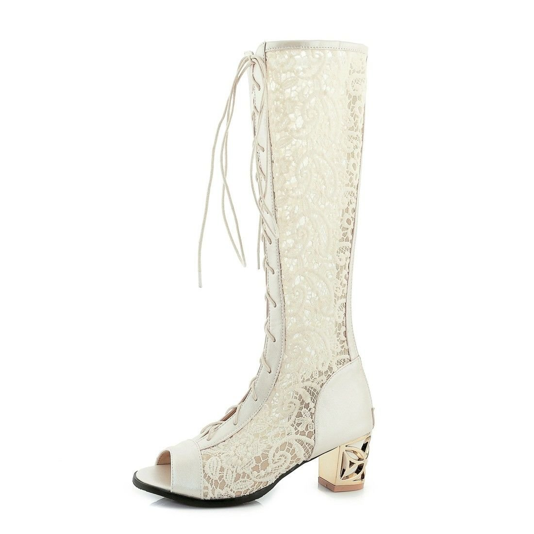 YU&XIN-Spring and Autumn Women's Shoes Europe, the United States Fish mouth cold boots, lace-like with bold, large numbers of high-boots,beige,35