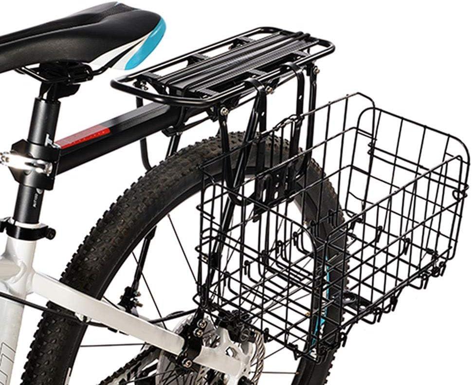 YSXBasket1 Cesta Plegable de Alambre de Metal para Bicicleta de montaña, con Marco de Hierro Grueso, Bolsa Frontal para Colgar en la Parte Trasera de la Bicicleta, Negro: Amazon.es: Deportes y aire