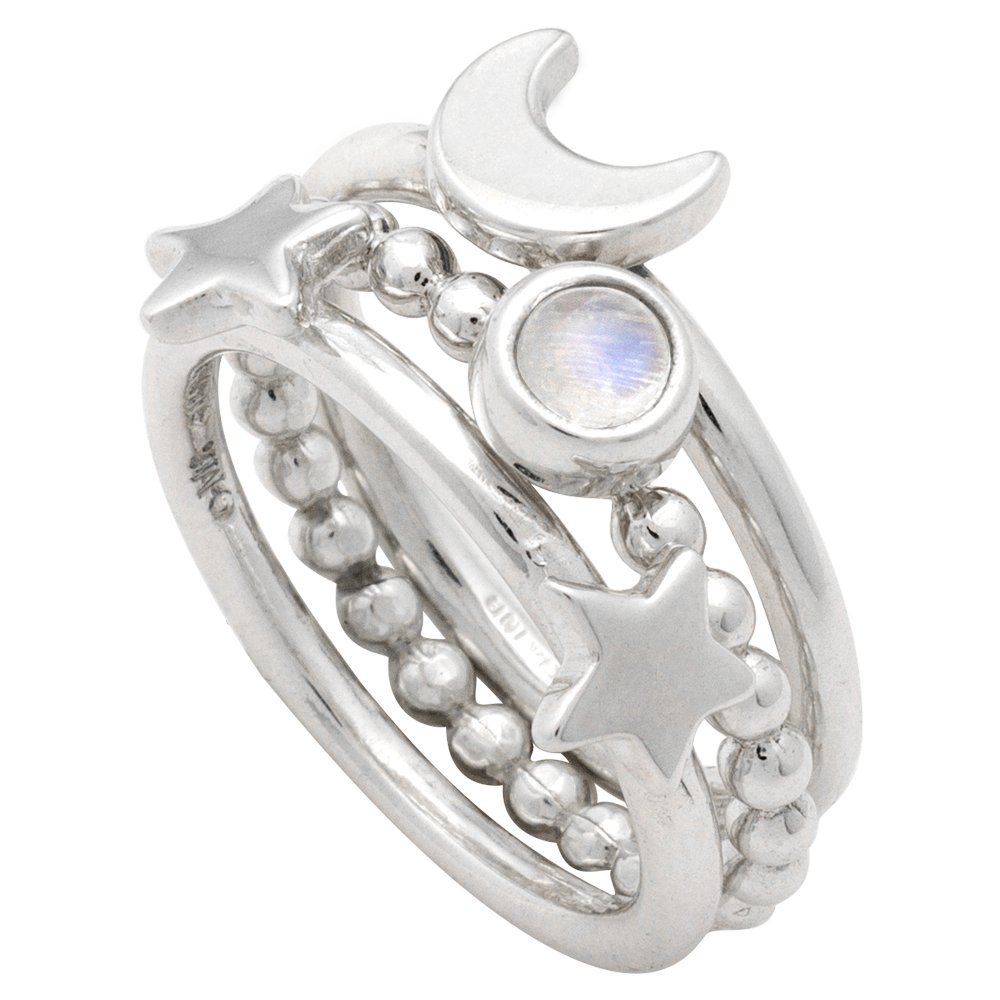 Mignon Faget Crescent Moon and Star Stacking Rings, Set of 3, Sterling Silver and Rainbow Moonstone (6)