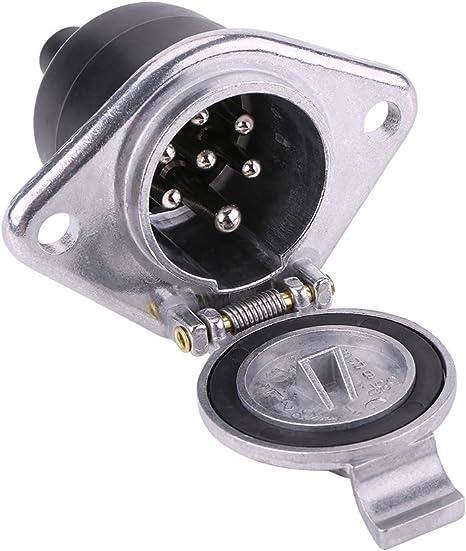 Qiilu Adaptateur de c/âble de remorque 7 Broches Prise de remorque avec c/âble dextension de Ressort de 98,4 Pouces Accessoire de connecteur dadaptateur de c/âblage 12 V