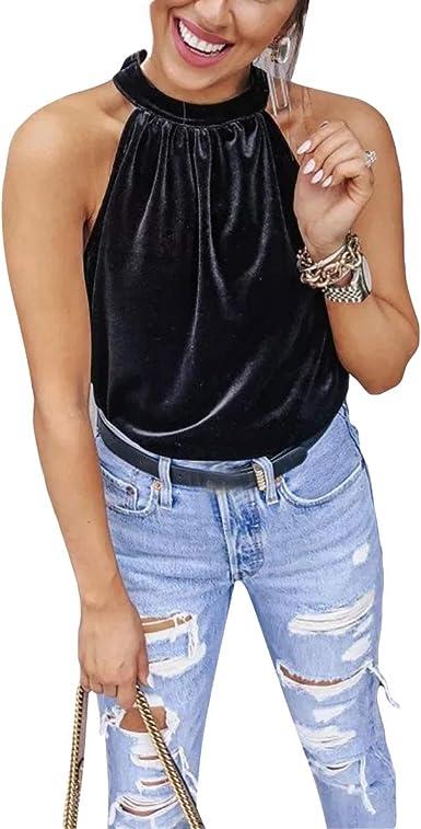 Camisa sin Mangas con Cuello Redondo de Terciopelo sin Mangas para Mujer ~ |: Amazon.es: Ropa y accesorios