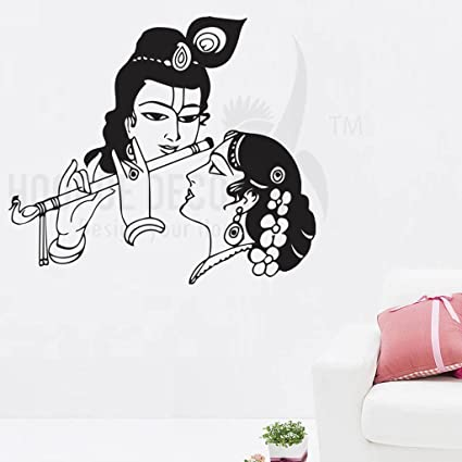 7c94672070 Buy Hoopoe Decor 'Lord Krishna with Radha' Wall Sticker (Vinyl, 49 cm x 0.2  cm x 56 cm, Black) Online at Low Prices in India - Amazon.in