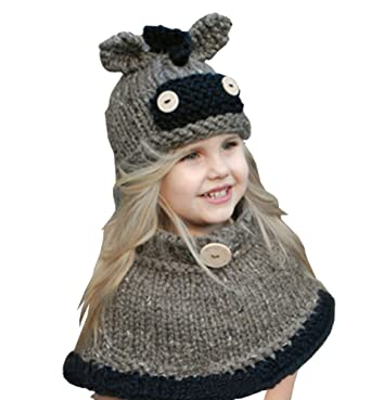Yututu Baby Kids Warm Cute Animal Hats Knitted Hood Scarf For Autumn