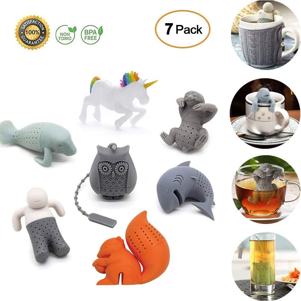 BPA-Free Silicone Animal Funny Tea Infuser Set of 7 for Loose Leaf Tea Strainer, Tea Strainers Handle Stainless Packed in Box for Travel Mug Bottle