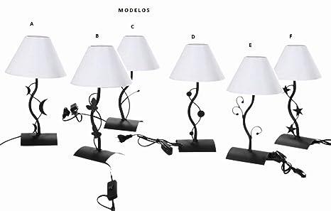 Vilys House Lampara sobremesa para mesita Noche o Mesa Auxiliar elaborada en forja con Pantalla Color Blanco (Disponible en 6 Modelos) (Modelo A)