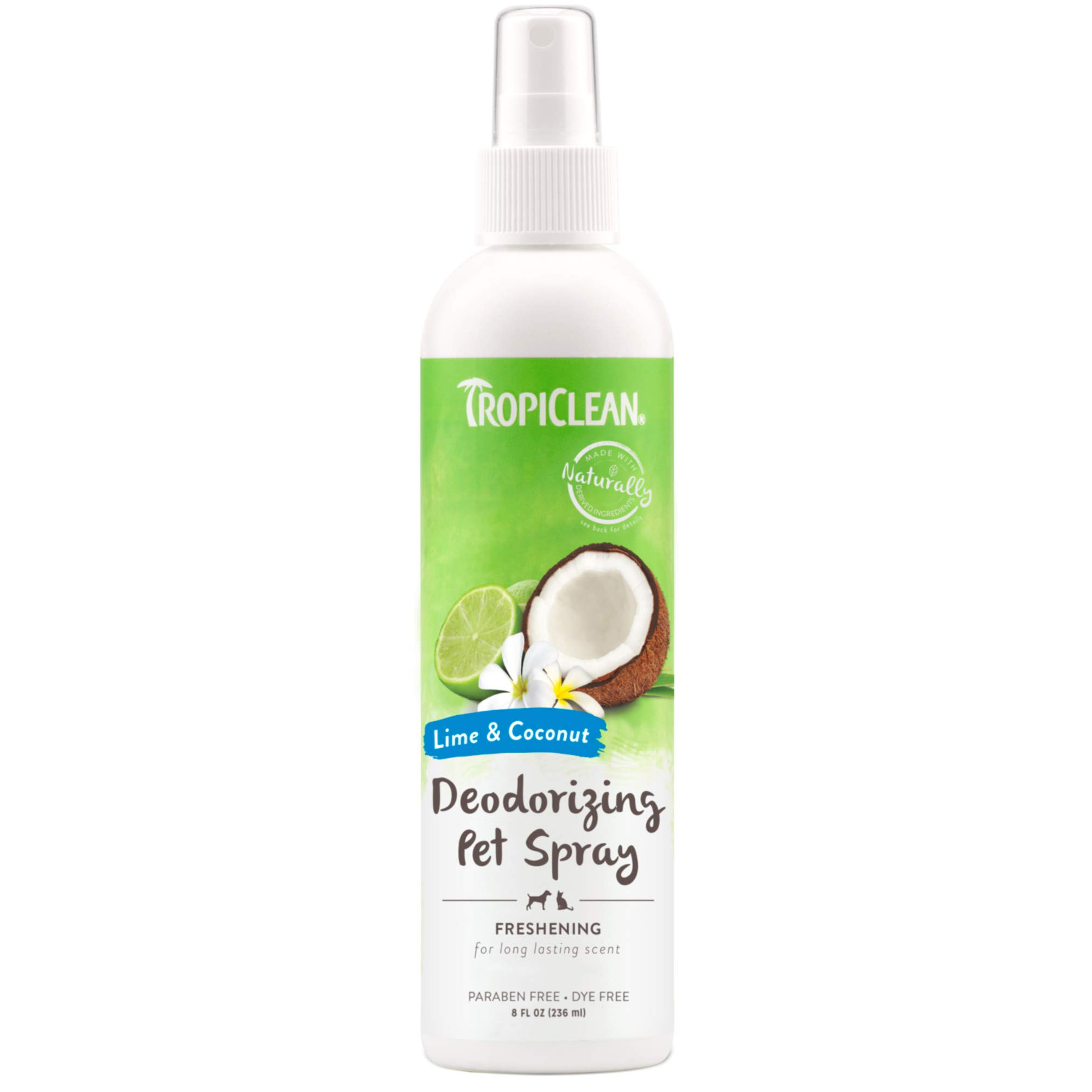 TropiClean Lime & Coconut Deodorizing Spray for Pets, 8oz, Made in USA by TropiClean