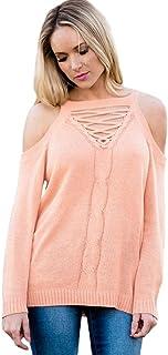 Wgwioo Sweater Maglione a Maglia da Donna Casuale Girocollo Camicetta Cavo Pullover Sciolto Top Manica Lunga Elasticità Retro Abbigliamento Sportivo Felpe
