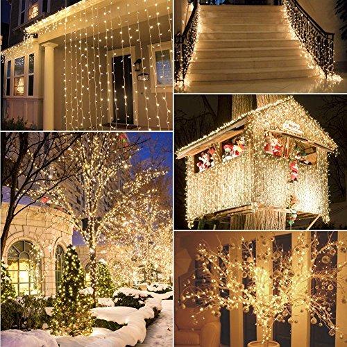 300 Led Window Curtain Icicle Lights Linkable Christmas
