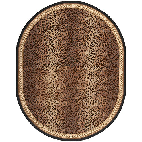 Chelsea Oval Rug (Safavieh Chelsea Collection HK15A Hand-Hooked Black and Brown Premium Wool Oval Area Rug (7'6