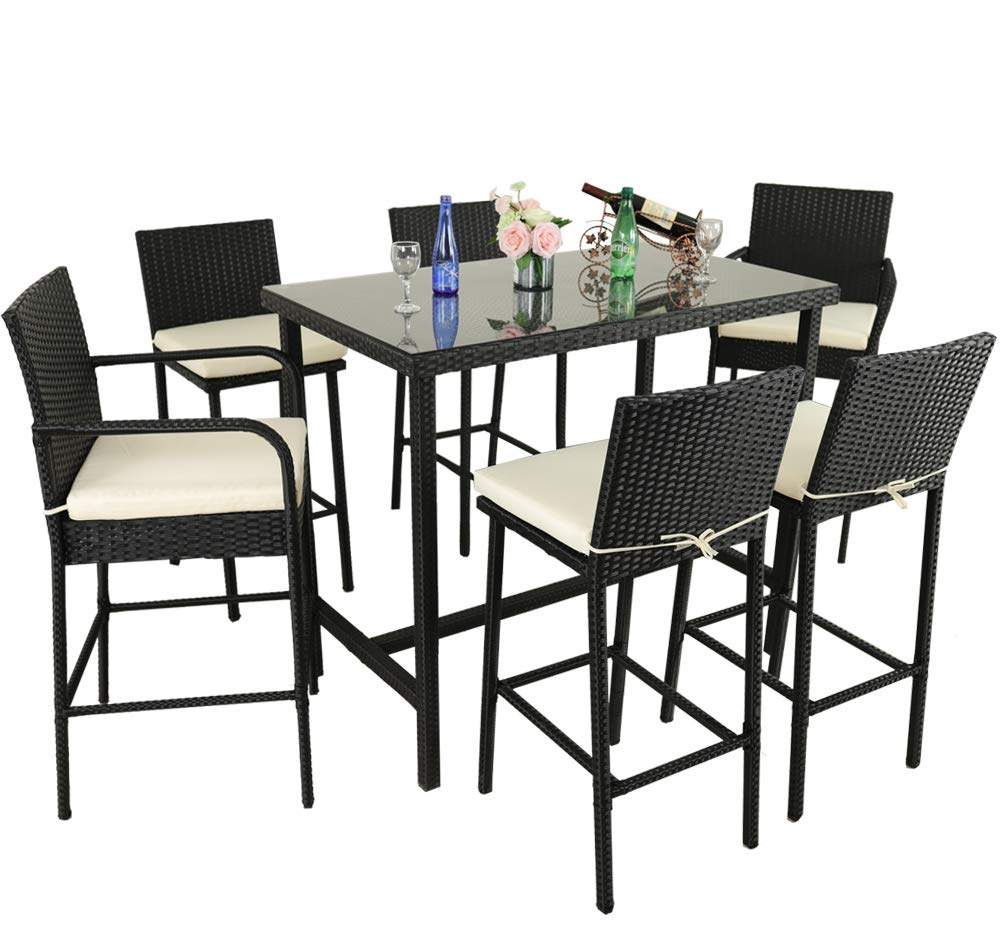 Leaptime Outdoor Dining Set 7pcs Bar Table and Stools Patio Furniture Garden Dining Table Sets Lawn Furniture Deck Pool Stools Black Rattan Beige Cushion