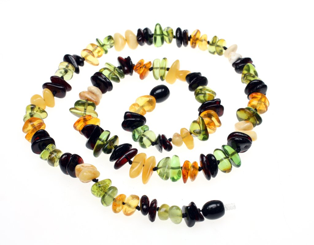 Amberbeata ''Fall Colors 2'' Baltic Amber Teething Necklace for Mom (Butterscotch, Cognac Honey, and Cherry Baltic Sea Amber, & Green Caribbean) Etsy Necklace by Amberbeata