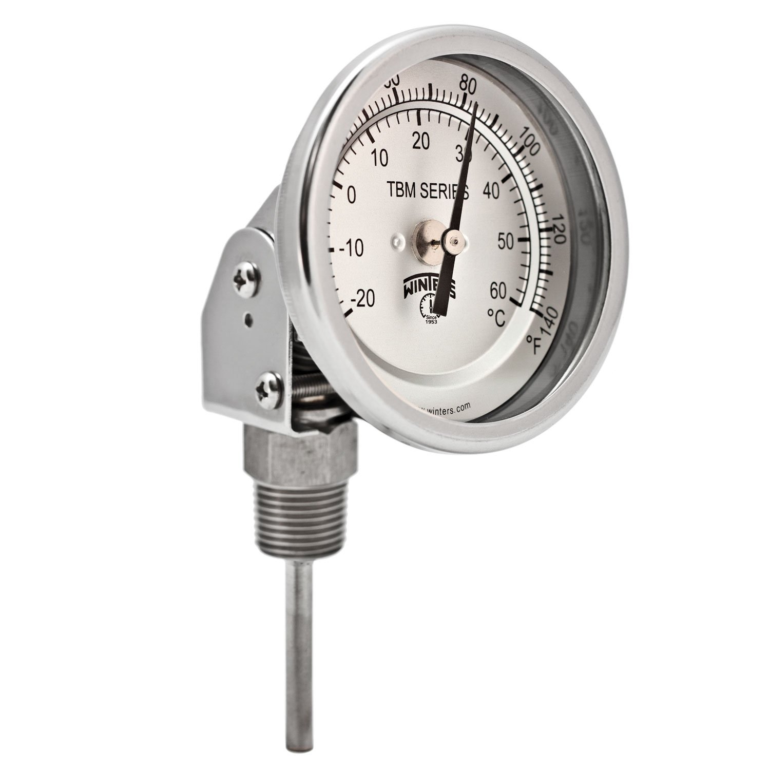Winters TBM Series Stainless Steel 304 Dual Scale Bi-Metal Thermometer, 2-1/2'' Stem, 1/2'' NPT Adjustable Angle Connection, 3'' Dial, 0-140 F/C Range