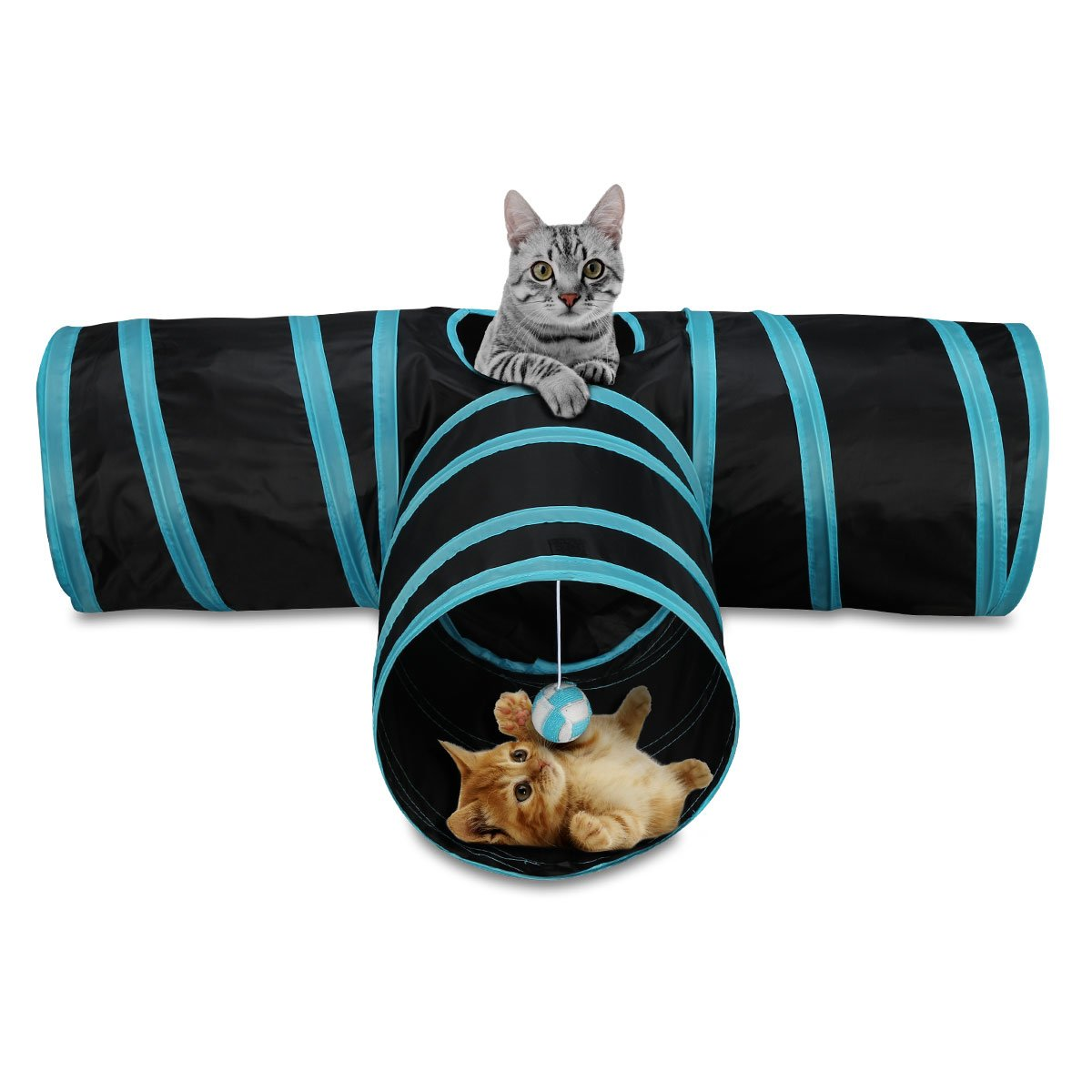 MOREASE 3 Way Cat Tunnel Cat/Dog/Rabbit toy Collapsible Tunnel T-shape Design Dura Interactive ball