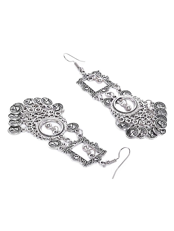Zerokaata/Fashion Jewellery Rectangular Tribal Jewellery Danglers With Hanging Metallic Coins For Women /& Girls