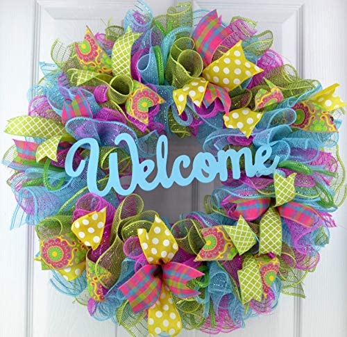 (Wreath for Summer | Spring Door Wreath | Year Round Welcome Wreath | Pink Turquoise Yellow Green P1)