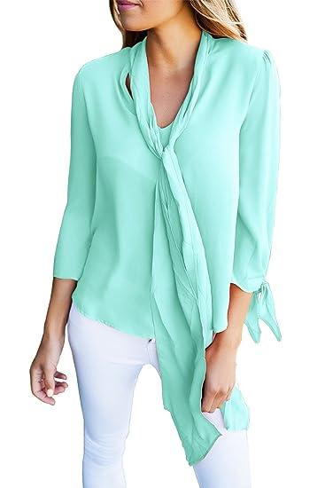Nueva blusa de manga con cuello y lazo azul claro con lazo ...