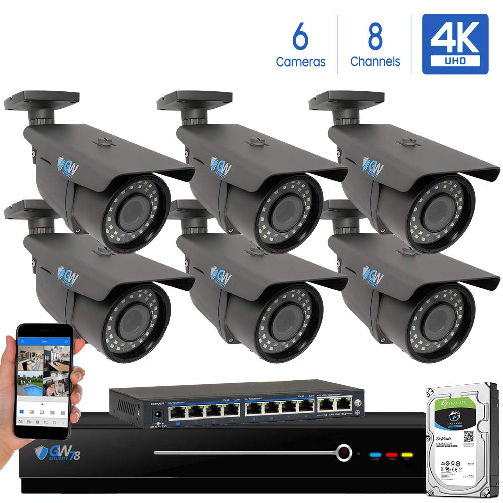 GW 8 Channel 4K NVR 8 Megapixel H.265 Video PoE Security Camera System – Six 8MP 2160P Weatherproof 2.7-13.5mm Varifocal UltraHD 4K IP Bullet Cameras, 196ft IR Night Vision, Pre-Installed 3TB HDD