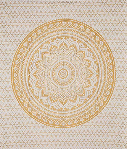 STALLION COTTON CLOTHING Exclusive Twin Original Golden Ombre Wall Hanging, Boho Bohemian Hippie Tapestries/Indian Cotton Dorm Decor Golden Twin Bedspread/Meditation Yoga Mat Rug 54x84 inches.