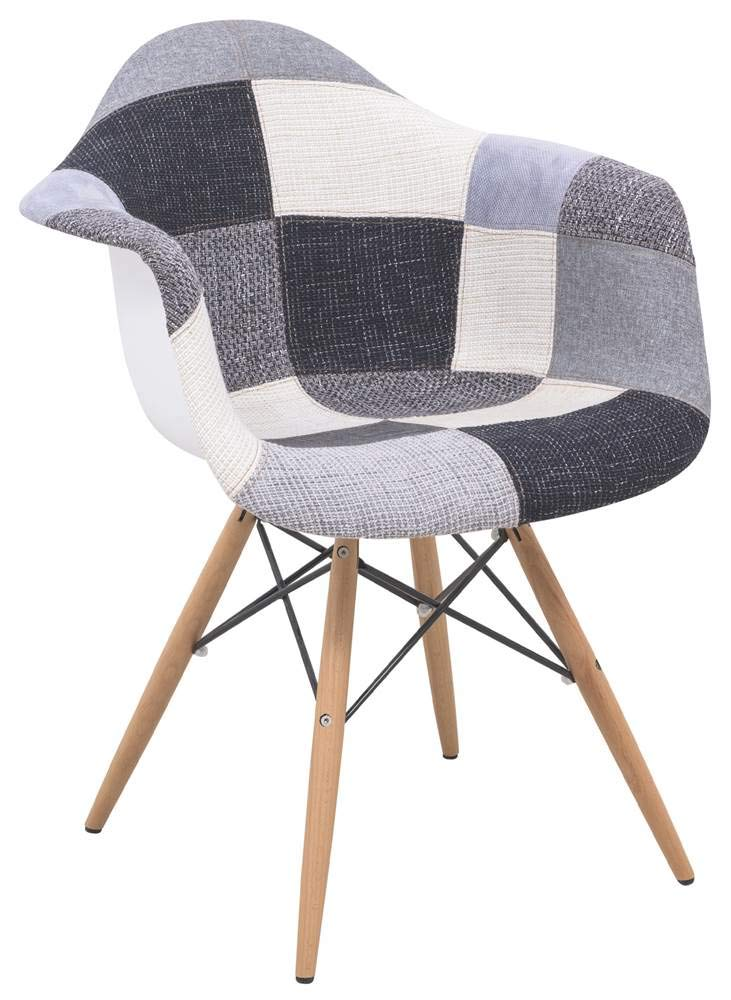 LeisureMod Willow Patchwork Fabric Eiffel Accent Chair in Multicolor by LeisureMod