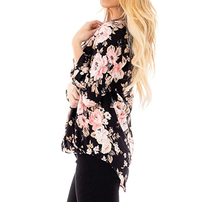 Blusa Mujer Elegante Sexy 2018,ZARLLE Blusa De Gasa A Rayas Cuello En V Ajustable, Blusa Suelta Cruz Floral Impreso Mujeres Casual Manga Larga Tops Blusa ...