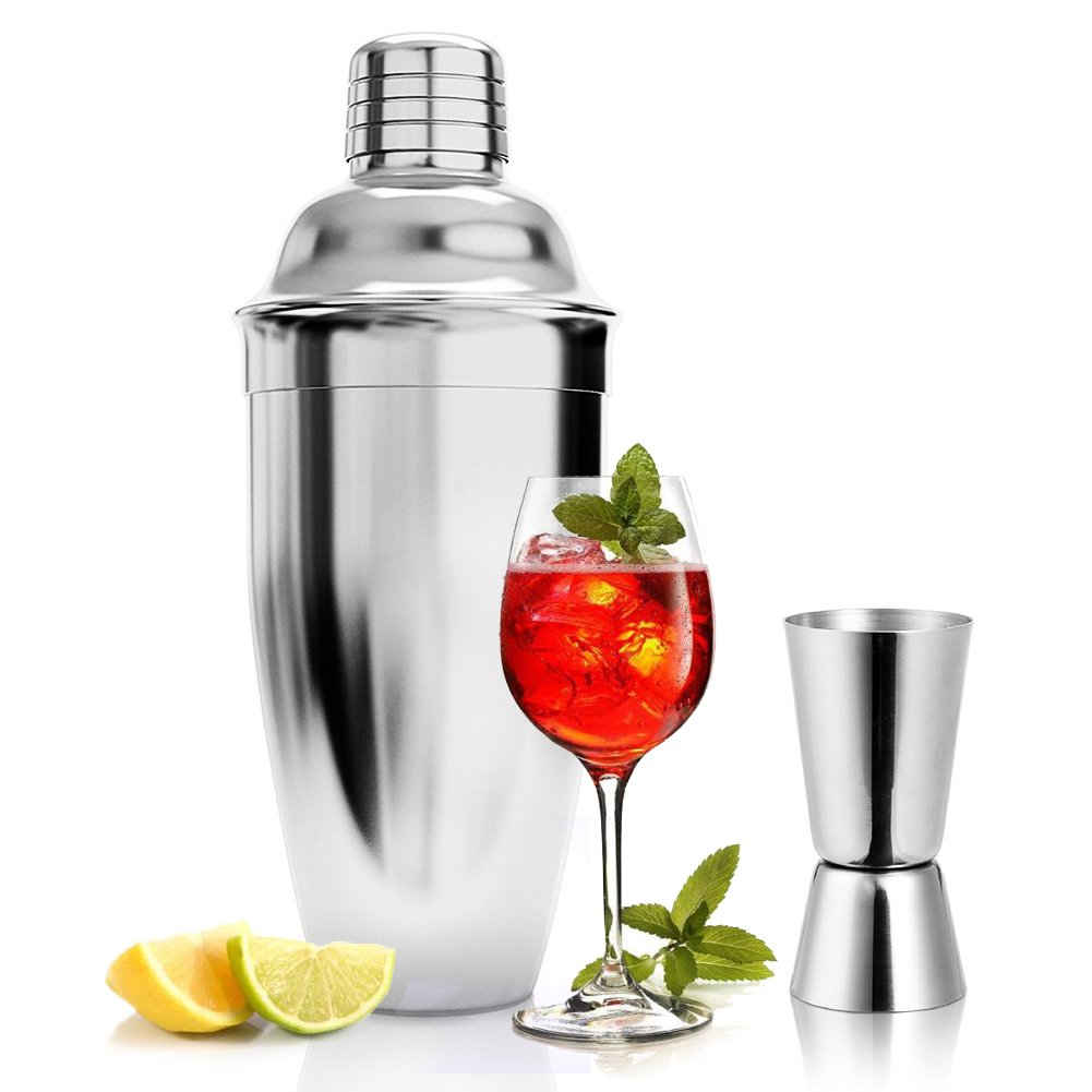 Cocktailshaker Set, Premium Cocktailset Edelstahl Bar mit Cocktail Messbecher Professioneller Cocktailmixer Set Barset in Bar Zubehö r Donaki