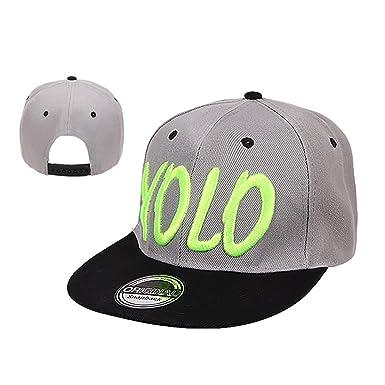 3156e6c17e35f Galeja YOLO by Basecap Kinder Snapback Onesize 52 56 Farbe Grau-Grün  Schirmmütze Hip Hop Cap New Kollektion  Amazon.de  Bekleidung